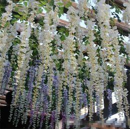 Venta al por mayor de Elegante Flores Artificiales Simulación Wisteria Vine Decoraciones de Boda Larga Corta Seda Planta Bouquet Habitación Oficina Jardín Accesorios de Novia