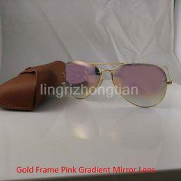 517f33292418c 1Pcs High Quality Mens Womens Designer Sunglasses Pilot Sun Glasses Gold  Frame Rose Red Gradient Mirror Flash Lens 62mm With brown Case