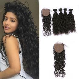 16 inch peruvian closure hair 2019 - 4PCS Virgin Peruvian Water Wave Hair Weave Bundles With Silk Base Closure Natural Black Unprocessed Human Hair Extension