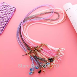 Cell Phone Jewelry Charms Canada - Wholesale-40cm Bling Diamond Phone Lanyard Straps Fashion Shiny Cell Phone Charm Colorful Jewelry Rhinestone Long Neck Mobile Chain 1pcs