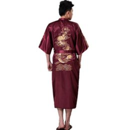a1e0c1e404 High Quality Burgundy Traditional Chinese Men s Silk Satin Robe Embroidery  Dragon Kimono Yukata Bath Gown plus size