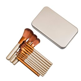 professional makeup brush wholesale UK - Professional 12pcs Makeup Cosmetic Facial Brush Kit Metal Box Brush Sets Face Powder Brush with N3 Logo DHL Fast Shipping