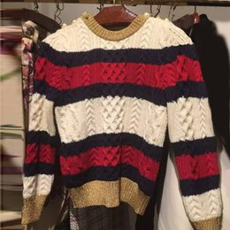 Suéter De Invierno Mujer Caliente Baratos-MUJER CALIDAD Milan Fashion 2016 Runway Brand Sweaters Suéteres Invierno Mujeres Fall Warm Color Block Striped Button Pullover Jumpers