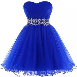 Perles D'image Personnalisées Pas Cher-Royal Blue Short Homecoming Robe Tulle A Line Crystal Beads Plus récent Image réelle Custom Made Open Back Cocktail Party Robes Plissé Drapé
