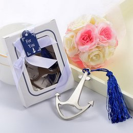 $enCountryForm.capitalKeyWord Australia - Wedding Favors Gift Silver Nautical Themed Party Boat Anchor Beer Bottle Opener with Blue Tassel Party Decoration Supplies DHL Free Shipping