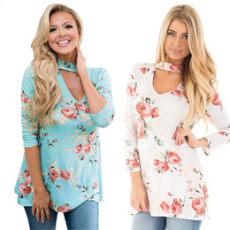 $enCountryForm.capitalKeyWord Canada - Floral Print Women Large Size Tops halter T-Shirts 2017 Spring Autumn Casual Long Sleeve T-Shirt Plus Size 2XL 3X DHL NX170909