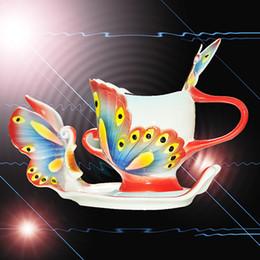 Ceramics Arts Canada - Fine Art Porcelain Ceramic Butterfly Coffee Mug Tea Set Cup Sauce Spoon+Gift Box