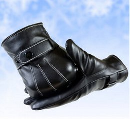 Leather Gloves For Men NZ - Hot sale!New men fashion black washed leather gloves designer winter outdoor sports warm touch gloves ST-3 for men Christmas Gifts
