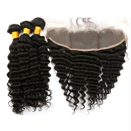 $enCountryForm.capitalKeyWord Canada - 13x4 Lace Frontal Closure With Bundles 4Pcs Lot Brazilian Human Hair Deep Wave With Lace Frontal Deep Curly Closure With Hair Weaves