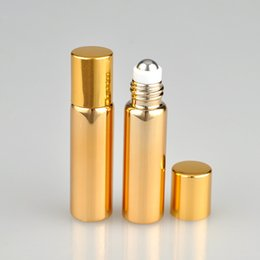 Desodorante Roll Al Por Mayor Baratos-2018 Nuevo 5 ml Gold Silver Glass Aceite esencial Roller Bottles Metal Roller Balls Roll Desodorante Contenedores Rollo De Vidrio En Botellas 5ml venta al por mayor