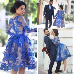 Discount light coral lace dress long - 2017 Royal Blue Lace Appliques Illusion Long Sleeves Cocktail Party Dress Knee Length Short Homecoming Prom Ball Gowns D