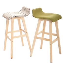 Modern Creative Ergonomic Wood Bar Chair Garden Stool Chair High Leg Long  Leg Front Reception Desk Chair F02F