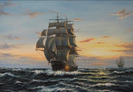 $enCountryForm.capitalKeyWord NZ - Framed big sail boat on ocean in sunset,Free Shipping,Pure Hand-painted Seascape Art oil painting On Canvas Multi sizes Available