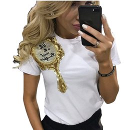 Appliques De Paillettes En Gros Pas Cher-Vente en gros - CWLSP Hot Women t shirt Casual Sequins Emboridery Magical Miroir T-shirt Short Sleeve Tops Tee Kawaii T-shirts Femme QA1621