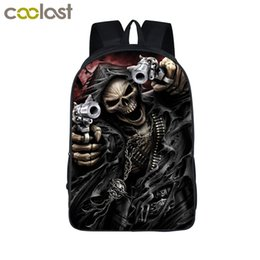 kids skull school bag 2019 - Cool Skull Reaper Backpack For Teenage Boys Children School Bags Rock Backpacks Women Men Hip Hop Backpack Kids Book Bag