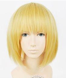 $enCountryForm.capitalKeyWord Canada - 100% free shipping New High Quality Fashion Picture full lace wigs>>Japan Anime Attack on Titan Armin Arlart Short Dark Blonde Cosplay Wig #