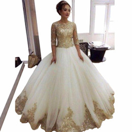Wholesale golden color wedding dresses resale online - A Line Wedding Dresses with Golden Applique Half Sleeve Crew Neck Floor Length Bridal Gowns