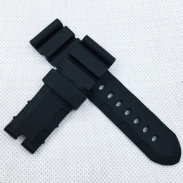 pam band strap UK - 24mm 120mm 75mm luxury good quality Black Silicone Rubber Water proof Sport Band Strap for PAM LUNMINOR RADIOMIR Watch