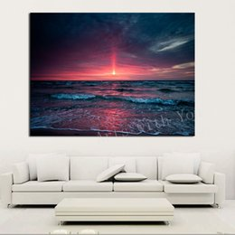 wave art canvas sets Canada - HD Decorative Art Picture With The Setting Sun Waves Of Sea Painting On Canvas for Living Room Home Decor Paintings Unframed Free Shipping