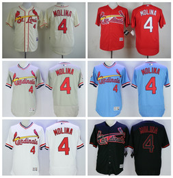 853757f8 MLB Jersey St. Louis Cardinals 4 Yadier Molina Jersey Cooperstown Vintage  Baseball ...