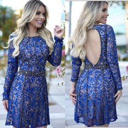 Barato Vestido De Renda Com Mangas-Sexy Blue Lace Backless Cocktail Dress Evening com mangas compridas Bateau Neck Beading Vestidos curtos Cheap A-Line Evening Wear