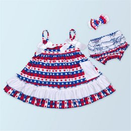 Wholesale Summer Cute Girls Cotton Clothing Sets Girls Dresses Fashion Kids Sleeveless Dresses Clothing Sets European and American Style