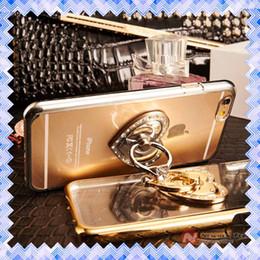 Branded metal leather card holder online shopping - Finger Holder Bracket Love Diamond Ring Phone Cases For iPhone S S Plus Cases Back Cover