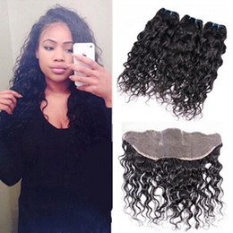 $enCountryForm.capitalKeyWord Canada - Raw Indian Wet and Wavy Human Hair 3Pcs With Lace Frontal Closure 13x4'' Ear to Ear Water Wave Full Lace Frontal With Bundles