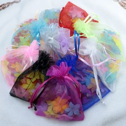 Barato Fita Dos Miúdos Bolsas-Organza Sheer Bolsas Ribbon Drawstring Jóias Sacos Kids Festa de Aniversário Gift Packaging Bags Alérgico Mixed Color Wedding Favor Candy Bags