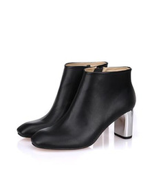 Silver loop chainS online shopping - SALE B093 black GENUINE LEATHER SILVER high HEEL ANKLE short BOOTS luxury designer inspired ce