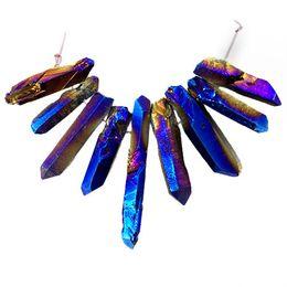 $enCountryForm.capitalKeyWord UK - YL018 9pcs Blue titanium crystal Agate Druzy Quartz Geode stone Pendant Bead set