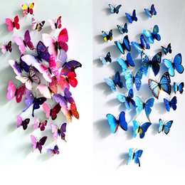 $enCountryForm.capitalKeyWord NZ - 12Pcs 3D Butterfly Wall Sticker PVC Magnet DIY Wall Butterfly Sticker Home Decor New Arrival Fridage stickers Decoration for living room
