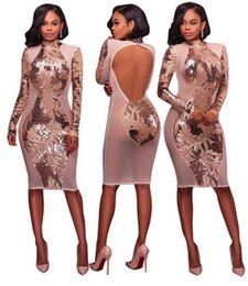 Fête Des Dames Sexy Pas Cher-2017 nouvelle femme bodycon bandage dress Ladies 'Fashion sequins Backless Mesh Robe Long Sleeve Sexy Party femme Clubwear