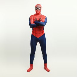 Homme Spandex Rouge Hommes Pas Cher-Brand New 2017 Rouge et Bleu foncé Superhero Body Cosplay Spider-Man Costume sexy Lycra Spandex Complet Body Zentai Suit