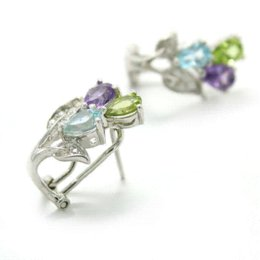 $enCountryForm.capitalKeyWord UK - New Hot Stylish Promotion Natural Amethyst Peridot Topaz Clip On Earrings Cuff For Girls .925 Sterling Silver Free Shipping