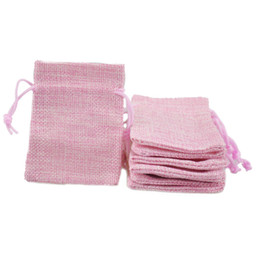 Small Packaging Fabric Bags Canada - 7x9cm Hessian bag for sale Faux Jute Drawstring Jewelry Bags Candy Beads Small Pouches Burlap Blank Linen Fabric Gift packaging bags