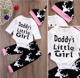 Barato Bebê Pequeno Bonés-3PCS casual kids clothing Newborn Infant baby boys Girls Outfits Papai Noel Hot Words print Romper + Long Pants + Hat toddler Clothes