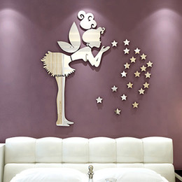 Wall Sticks Tile Canada - New 3D Magic Angel Fairy & Stars Mirror Wall Decals Sticker Home Bedroom Decor S