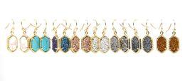 Gold earrinGs style online shopping - Christmas Gift Kendra Style Copper Gold Tone Metal Faux Stone Oval Earrings Resin Druzy Dangle Earrings for Women