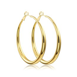 Chinese  Wholesale- Yellow or Rose Gold Color Round Loop Big Large Circle Creole Hoop Earrings For Women Girls Fashion Jewelry Pendientes Aros Gift manufacturers