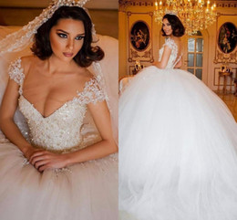 $enCountryForm.capitalKeyWord NZ - 2016 New Luxury Puffy Ball Gown Wedding Dresses Jewel Neck Short Sleeves Pearls Tulle Court Train Sheer Back Plus Size Formal Bridal Gowns