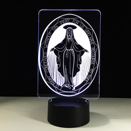 virgin cards UK - 2016 Goddess Virgin Mary 3D Optical Illusion Lamp Night Light DC 5V USB 5th Battery Wholesale Dropshipping Free Shipping Retail Box