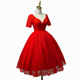 Lace country pLus size wedding dress online shopping - Red Ball Gown Beach Country Wedding Dresses Short Sleeves Knee Length Sweetheart Tulle Plus Size Beach Wedding Dress Lace Up Back Gowns