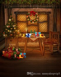 Christmas Tables Canada - Christmas Tree Gifts Dining Table 5x7ft Christmas Photography Backdrops Photo Studio Props Vinyl Fotografia Backgrounds