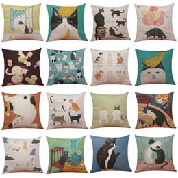 Nice Japanese Bobtail Pattern Linen Cushion Cover Home Office Sofa Square Pillow  Case Decorative Cushion Covers Pillowcases Without Insert(18*18)