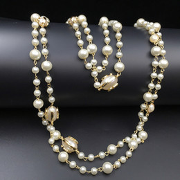 Long beaded neckLace designs online shopping - 2016 Fashion Women Golden Chain Elegant beaded pearl Design long sweater chain necklaces strands strings Christmas gift