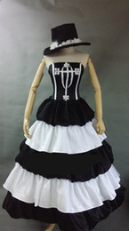 medieval gowns white Canada - black and white flower embroidery ball gown with hat medieval dress Renaissance Gown princess Victorian Marie Antoinette