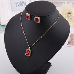 blue diamond wedding necklace Australia - Necklace & Earring set, Red Blue Greet diamond pendants,Ruby,Sapphire for dinner party, wedding, hign quality and free shipping