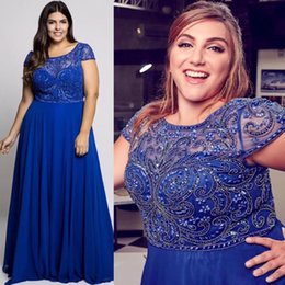 Robe En Mousseline De Soie Bleue Pas Cher-Stunning Blue Beaded Plus Size Robes de soirée Sheer Bateau Neck A Line Robes de bal Cheap Floor Length Chiffon Formal Dress