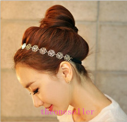 $enCountryForm.capitalKeyWord NZ - 2016 hot Womens Fashion Metal Chain Jewelry Hollow Rose Flower Elastic Hair Band Headband Jewelry Headwear